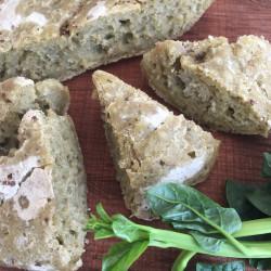 9月パン  focaccia(ツルムラサキ+山椒醤油フォカッチャ)